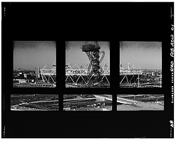 © Licensed to London News Pictures. 05_12_2012. LONDON OLYMPIC STADIUM, photographed through the window of an empty flat, during construction before this years London Olympic Games. Photo credit : Andrew Baker/LNP