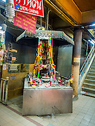 29 JULY 2014 - HAT YAI, SONGKHLA, THAILAND: A small shrine in the market in Hat Yai. Hat Yai is the 4th largest city in Thailand and the largest outside of the Bangkok metropolitan area. It's less the 50 miles from the Malaysian border and is a popular vacation spot for Malaysian and Singaporean tourists.       PHOTO BY JACK KURTZ