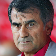 Trabzonspor's coach Senol GUNES during their UEFA Champions League third qualifying round, second leg, soccer match Trabzonspor between Benfica at the Ataturk Olimpiyat Stadium at İstanbul Turkey on Wednesday, 03 August 2011. Photo by TURKPIX