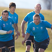 Donncha O'Callaghan (back, left) Paul O'Connell, (back, right), Shane Jennings, (front, left) and Tom Court, (front, right) training with the Irish team at The Queenstown Events Centre in preparation for the IRB Rugby World Cup. Queenstown, New Zealand, 7th September 2011. Photo Tim Clayton...