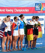 Chungju, South Korea.  Lightweight women's double sculls medals, Middle Gold medalist.  ITA LW2X. Bow. Laura MILANI and Elisabetta SANCASSANI, left Silver medalist, USALW2X. Kristin HEDSTROM and  Kathleen BERTKO. right Bronze medalist. GER LW2X.  Lena MUELLER and Anja NOSKE. 2013 FISA World Rowing Championships, Tangeum Lake International Regatta Course.16:14:41  Saturday  31/08/2013 [Mandatory Credit. Peter Spurrier/Intersport Images]