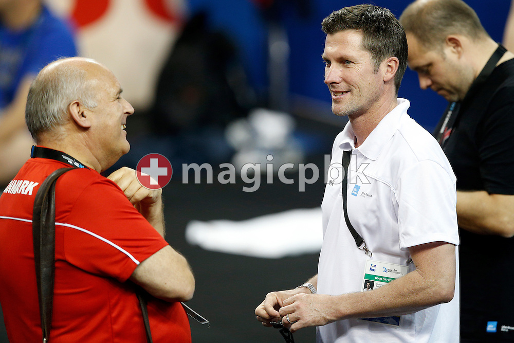 Danish national head coach Nick Juba (L) talks to Shannon Rollason during a training session 1 day prior to the start of the 12th Fina World Short Course Swimming Championships held at the Hamad Aquatic Centre in Doha, Qatar, Tuesday, Dec. 2, 2014. (Photo by Patrick B. Kraemer / MAGICPBK)