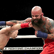 DAYTONA BEACH, FL - SEPTEMBER 11: Jacob Brunelle (R) fights Rusty Crowder during the Bare Knuckle Fighting Championships at the Ocean Center on September 11, 2020 in Daytona Beach, Florida. (Photo by Alex Menendez/Getty Images) *** Local Caption *** Jacob Brunelle; Rusty Crowder
