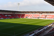 The sun casts a strong shadow across the Doncaster Rovers' pitch before the EFL Sky Bet League 1 match between Doncaster Rovers and AFC Wimbledon at the Keepmoat Stadium, Doncaster, England on 17 November 2018.