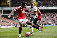 Timothy Fosu-Mensah of Manchester United and Danny Rose of Tottenham Hotspur compete for the ball. Barclays Premier league match, Tottenham Hotspur v Manchester Utd at White Hart Lane in London on Sunday 10th April 2016.<br /> pic by John Patrick Fletcher, Andrew Orchard sports photography.