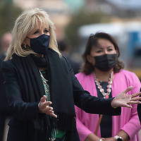 The First Lady of the United States Dr. Jill Biden visits with essential workers at Tséhootsooí Medical Center in Fort Defiance, Arizona Friday, April 23.