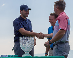 "July 15, 2018 - Stateline, Nevada, U.S - Former Dallas Cowboys quarterback, TONY ROMO, recieves wins the 29th annual American Century Championship at the Edgewood Tahoe Golf Course in Stateline, Nevada, on Sunday, July 15, 2018...Romo rallied from four points back to win his first American Century Championship at Lake Tahoe on Sunday...Romo, who retired after the 2016 NFL season and is now an NFL analyst, unseated three-time defending champion Mark Mulder and first- and second-round leader Joe Pavelski...Ã'ItÃ•s a special win,Ã"" said Romo, who had finished second three times in seven previous trips to the annual celebrity golf tournament at Edgewood Tahoe Golf Course. Ã'It feels like youÃ•re playing a tournament back home here. The day felt good for a lot of reasons.Ã""..Romo tapped in for par, worth one point, on the 18th hole to finish with 71 points, three ahead of Mulder, the former major league pitcher. (Credit Image: © Tracy Barbutes via ZUMA Wire)"