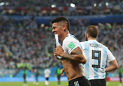 SAINT PETERSBURG, June 26, 2018  Argentina's Marcos Rojo (L) celebrates scoring during the 2018 FIFA World Cup Group D match between Nigeria and Argentina in Saint Petersburg, Russia, June 26, 2018. Argentina won 2-1 and advanced to the round of 16. (Credit Image: © Yang Lei/Xinhua via ZUMA Wire)