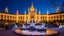 Tivoli amusement park with Christmas lights, Copenhagen, Denmark. 23/12/15. Photo by Andrew Tallon