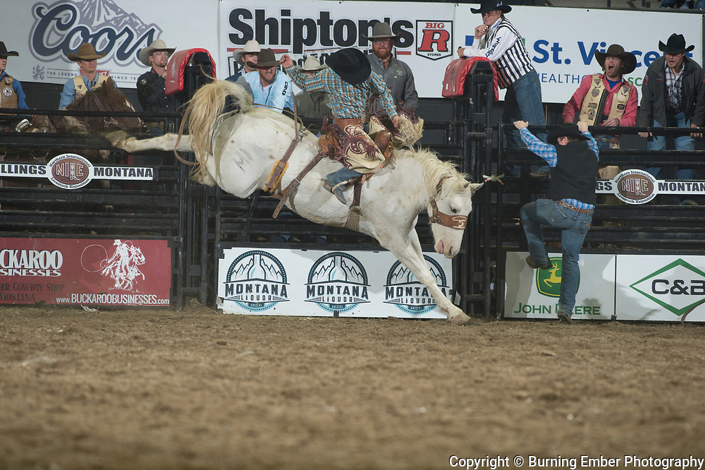 Jesse Kruse on Mountain Pocket of Powder River Rodeo at the NILE Rodeo 3rd Perf Oct 19th, 2019.  Photo by Josh Homer/Burning Ember Photography.  Photo credit must be given on all uses.