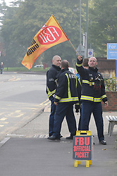 © Licensed to London News Pictures. 25/09/2013<br /> London Firefighters Strike, Sidcup Firefighters in Sidcup, Kent South East London (border)taking strike action walking out of their fire station.<br /> UK Firefighters today (25.09.2013) walked out of fire stations at noon for 4 hours in a battle over pensions.<br /> Photo credit :Grant Falvey/LNP