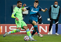 SAINT PETERSBURG, RUSSIA - NOVEMBER 04: Vyacheslav Karavayev of Zenit St Petersburg try to intercept Andreas Pereira of SS Lazio during the UEFA Champions League Group F stage match between Zenit St. Petersburg and SS Lazio at Gazprom Arena on November 4, 2020 in Saint Petersburg, Russia. (Photo by MB Media)