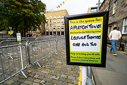 Edinburgh, Scotland, UK. 13 September, 2020. Preparations for start of term at Edinburgh University. Freshers' Week starts Monday 14  September and work is being carried out  on campus to allow students to enjoy their lives as far as possible bearing in mind the restrictions on social distancing due to the Covid-19 pandemic. Pictured; Outdoor matriculation areas are being created. Students are not able to matriculate indoors so George Square has been cordoned off to allow students to queue outdoors to register. Iain Masterton/Alamy Live News