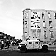 BALTIMORE, MD Tuesday, April 29, 2015: The city of Baltimore reels three days after the funeral of Freddie Gray, which sparked major riots and protests around the city.  Credit: Byron Smith