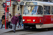 Passengers disembark from a tram on Milady Horakove street, Holesovice district, Prague 7, on 19th March, 2018, in Prague, the Czech Republic.