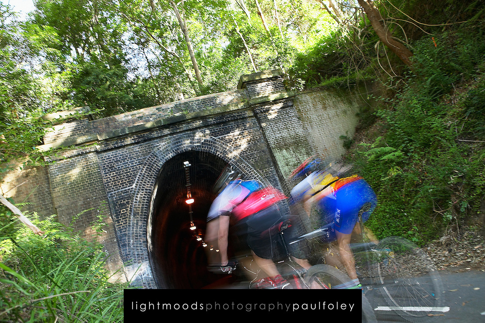 Cycling into Fernleigh Tunnel, Lake Macquarie, Australia