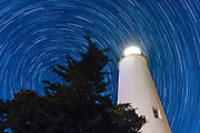Star Trails around the Ocracoke Island Lighthouse on Ocacoke Island, NC on May 23, 2018.