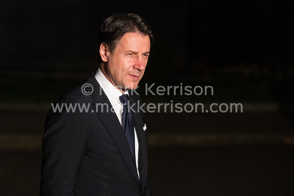 London, UK. 3 December, 2019. Giuseppe Conte, Prime Minister of Italy, leaves following a reception for NATO leaders at 10 Downing Street on the eve of the military alliance's 70th anniversary summit at a luxury hotel near Watford.
