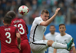 June 24, 2017 - Saint Petersburg, Russia - Pepe (L), Danilo Pereira of the Portugal national football team and Chris Wood of the New Zealand national football team vie for the ball during the 2017 FIFA Confederations Cup match, first stage - Group A between New Zealand and Portugal at Saint Petersburg Stadium on June 24, 2017 in St. Petersburg, Russia. (Credit Image: © Igor Russak/NurPhoto via ZUMA Press)