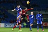 Joe Ralls of Cardiff city (l) is challenged by Grant Ward of Ipswich Town (r). .  EFL Skybet championship match, Cardiff city v Ipswich Town at the Cardiff city stadium in Cardiff, South Wales on Tuesday 31st October 2017.<br /> pic by Andrew Orchard, Andrew Orchard sports photography.