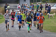 Cragsmoor, New York - The first wave of runners takes off at Sam's Point Preserve at the start of the Shawangunk Ridge Trail Run/Hike 32-mile race on Sept. 20, 2014.