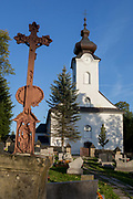 The cemetery and exterior of the Greek-Catholic Jana Chrzciciela church, on 21st September 2019, in Jaworki, near Szczawnica, Malopolska, Poland.