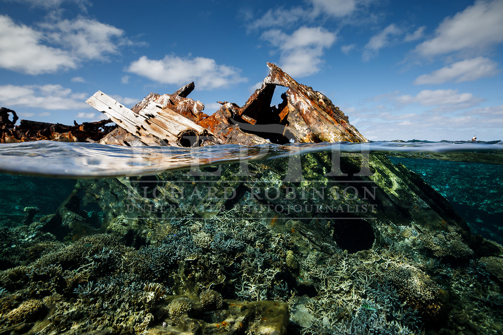 Historic Shipwreck at Vuata Vatoa Reef in the Lau Island Group of Fiji.<br /> Friday 18 August 2017<br /> Photograph Richard Robinson © 2017