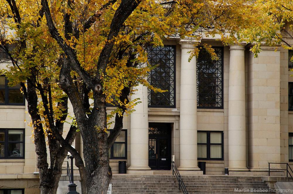 Autumn trees in front of courthouse, Prescott, Arizona
