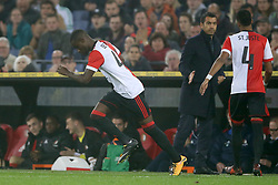Lutsharel Geertruida of Feyenoord, coach Giovanni van Bronckhorst, Jeremiah St. Juste of Feyenoord during the second round Dutch Cup match between Feyenoord Rotterdam and A.V.V. Swift at the Kuip on October 25, 2017 in Rotterdam, The Netherlands