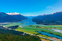 Aerial view, Mendenhall Wetlands State Game Refuge, Juneau, Alaska USA.