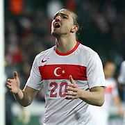Turkey's Caner Erkin during their a international friendly soccer match Turkey betwen Slovakia at Ataturk stadium in Bursa February 29, 2012. Photo by TURKPIX