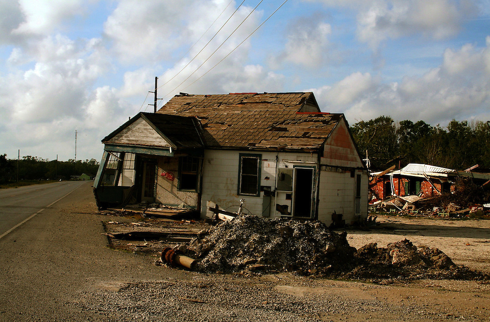 House Carried To Highway By Storm Surge From Hurricane Katrina, Port Sulphur, LA