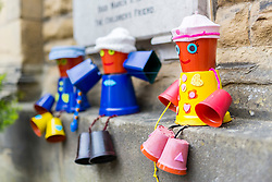 © Licensed to London News Pictures. 05/07/2019. Settle UK. Flowerpot figures at the 14th Settle Flowerpot festival in the Yorkshire Dales which takes place in the town throughout July & August. Photo credit: Andrew McCaren/LNP