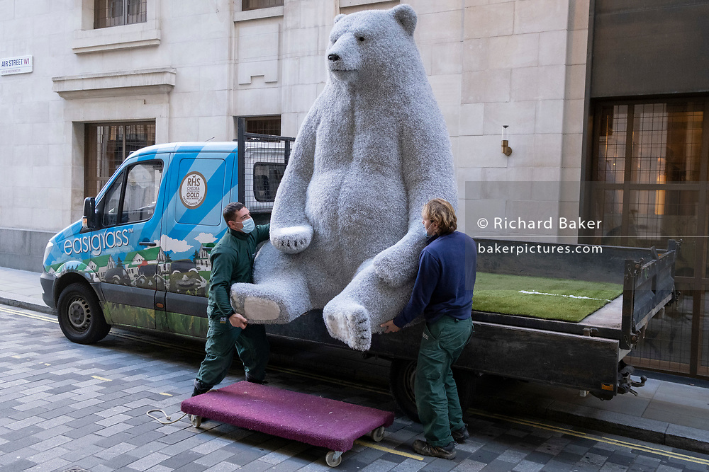 The second of two giant Christmas decoration bears are offloaded from a sub-contractor's lorry and delivered to the foyer of the Cafe Royal in Air Street, on 1st December 2020, in London, England. The bears have been manufactured by Romanian Eugeniu Dumneanu's Art-Grass company, a synthetic grass and turf provider specialising in the covering of surfaces and instillations with artificial grass and Astroturf.
