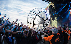 Diplo of Major Lazer goes crowdsurfing in an orb during live performance on day 3 of Leeds Festival a Bramham Park, UK. Picture date: Sunday 27 August, 2017. Photo credit: Katja Ogrin/ EMPICS Entertainment.