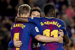 May 9, 2018 - Barcelona, Catalonia, Spain - Leo Messi, Ivan Rakitic and Ousmane Dembélé during the spanish football league La Liga match between FC Barcelona and Villarreal at the Camp Nou Stadium in Barcelona, Catalonia, Spain on May 9, 2018  (Credit Image: © Miquel Llop/NurPhoto via ZUMA Press)