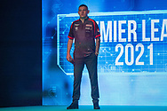 Nathan Aspinall (England), walk-on, during the Betway Premier League Darts Night Eight at Marshall Arena, Milton Keynes, United Kingdom on 21 April 2021