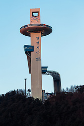 08-02-2018 KOR: Olympic Games day -1, Pyeongchang<br /> Jump-building tower of Alpensia Jumping Park during a preliminary reports to the Olympic Winter Games 'PyeongChang 2018' at the Alpensia Sports Park in Pyeongchang, South Korea on 2018/02/04<br /> <br /> *** USE NETHERLANDS ONLY ***