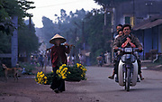 Marigold vendor approaches market outside Hue, Vietnam