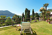 green garden with sunbed, panoramic view