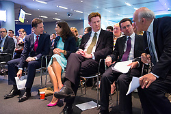© Licensed to London News Pictures. 09/06/2014. LONDON, UK. Nick Clegg, Miriam Clegg, Danny Alexander and Vince Cable (R) meeting at Bloomberg in central London ahead of Liberal Democrat party leader Nick Clegg's speech on party's long term vision in coalition and policies on Monday, 9 June 2014. Photo credit : Tolga Akmen/LNP