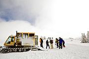 Group of people cat skiing the bowls of Keystone ski resort in Colorado