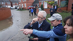© Licensed to London News Pictures. 9/11/2019. Doncaster, UK. Labour leader Jeremy Corbyn, meets residents  affected by flooding in Dufton Close Conisborough .Within 24 hours , floods have affected many parts of Northern England , with damage corresponding to a month of heavy rainfall.Photo credit: Ioannis Alexopoulos /LNP