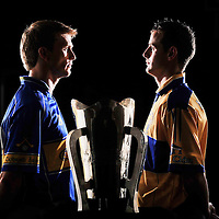 7 July 2008; Tipperary captain Paul Ormond, left, and Clare captain Brian O'Connell with the Munster trophy at a press conference ahead of the Munster GAA Senior Hurling Final on Sunday next. Gaelic Grounds, Limerick. Picture credit: Brendan Moran / SPORTSFILE *** NO REPRODUCTION FEE ***