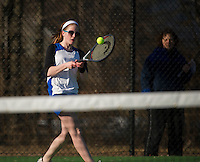 Mary Sapack of Interlakes pairs off in a singles match with Emily Hanf of Gilford during Wednesday afternoons varsity tennis matchup at Gilford High School.  (Karen Bobotas/for the Laconia Daily Sun)