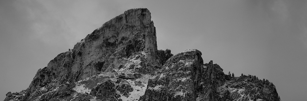 The summit of Sass de Stria in the Dolomites, Italy, converted to black & white.