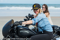 Leticia Cline and Deneille Vasualdo riding on Daytona Beach during Daytona Bike Week 75th Anniversary event. FL, USA. Thursday March 3, 2016.  Photography ©2016 Michael Lichter.