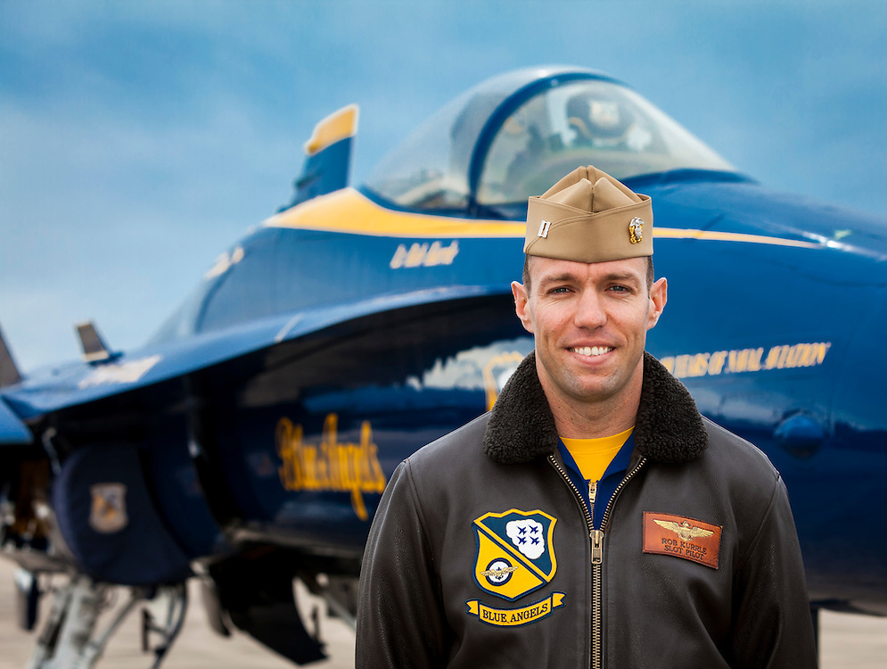 Captain Rob Kurrle, Blue Angels Pilot.  Created on a cold November day in the fall of 2011 at Pensacola Naval Air Station, Florida.  The following day was Captain Kurrle's last as a member of the Blue Angels.  <br />