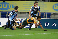 Cardiff Blues v Australia at the Cardiff City Stadium on Tuesday 24th Nov 2009. pic by Andrew Orchard, Andrew Orchard sports photography.  Kurtley Beale of Australia on his way to scoring a try