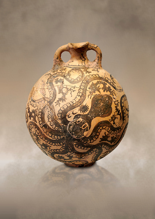 Minoan 2 handled flask with Marine style stylised octopus design,   Palaikastro,  1500-1450 BC; Heraklion Archaeological  Museum. .<br /> <br /> If you prefer to buy from our ALAMY PHOTO LIBRARY  Collection visit : https://www.alamy.com/portfolio/paul-williams-funkystock/minoan-art-artefacts.html . Type -   Heraklion   - into the LOWER SEARCH WITHIN GALLERY box. Refine search by adding background colour, place, museum etc<br /> <br /> Visit our MINOAN ART PHOTO COLLECTIONS for more photos to download  as wall art prints https://funkystock.photoshelter.com/gallery-collection/Ancient-Minoans-Art-Artefacts-Antiquities-Historic-Places-Pictures-Images-of/C0000ricT2SU_M9w